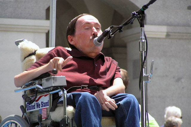 John Wilkins speaking on the steps of the California State Capitol Building.  Sacramento, CA  circa 2009